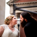 before the Wedding Recpetion bride and groom almost kiss at a corner in Middletown OH