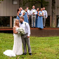 Fun Posed Bridal Party photo maids in gray blue dresses outdoor in Lebanon OH