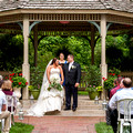 Bride and Groom just married under gazebo at benhams grove in Centerville OH