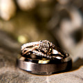 Close up of Wedding Rings sitting on a Leaf in Brides Bouquet at Lebanon OH