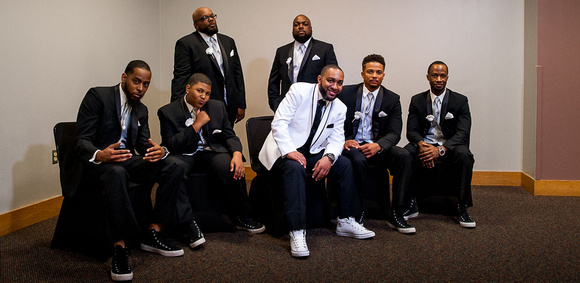 grooms men pose like a cd cover